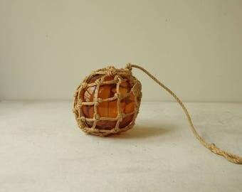 Vintage Glass Fishing Float Ball.  Orange Glass Fishing Float Buoy Macrame net.