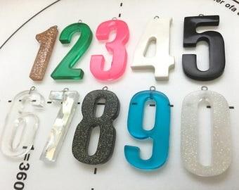 Custom Earrings - Number Earrings - Resin Earrings - Chunky Earrings - Modern Earrings - Stainless Steel - Unique Gift for Her