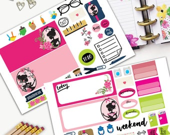 Girl Silhouette Weekly Planner Sticker Set, MINI Happy Planner Stickers, Weekly Set, Stickers, Printed, Cut, Pink, Cameo
