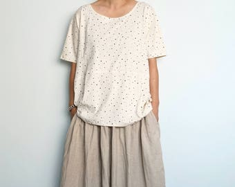 Star Printed Cotton Jersey Tee-Patchwork Cotton Jersey Top-Womens Top