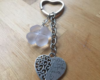 Mother's Day key pendant keychain charm silver heart glass milk glass mother mom and daughter forever Heart