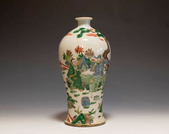 """Beautiful Chinese Antique Qing Dynasty Wucai """" Immortals"""" Porcelain Meiping Vase - 19th Century"""