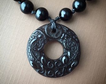 """Hand knotted Onyx Necklace with a Chinese """"Good Luck"""" Obsidian Pendant"""