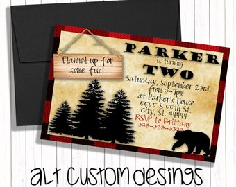 Lumberjack birthday Invitation - Buffalo Plaid Woodland Invitation - Lumberjack Invite - Camping Invitation - Bear Invitation
