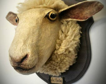 UNIQUE piece available - Trophy sheep hand-made decorative head.