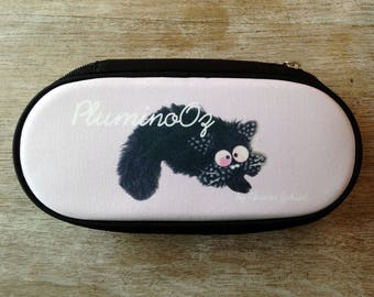 Pale pink and black pouch with cat fouin PluminoOz