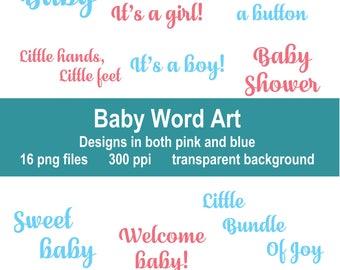 Baby Word Art, Clip Art, Instant Download