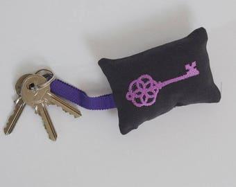 Purple embroidered keychain
