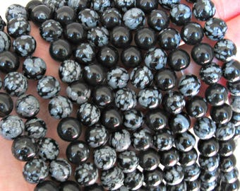Snowflake Obsidian, 8mm obisidan, full strand, black obsidian, obsidian 8mm, obsidian strand, 8mm obsidian, snowflake beads, 8mm black white