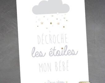 """Nursery poster """"get baby stars""""-sweet dreams"""