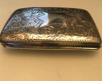 Vintage solid Sterling silver curved back highly engraved Cigarette Case  with gilded interior