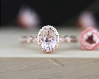 Pink Morganite Ring 6*8mm Oval Cut Morganite Engagement Ring 14K Rose Gold Ring Pave Diamond Ring Stackable Gemstone Ring Anniversary Ring