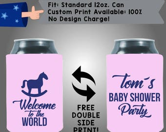 Welcome to the World Name's Baby Shower Party Gender Reveal Collapsible Neoprene Baby Shower Cooler Double Side Print (BS113)