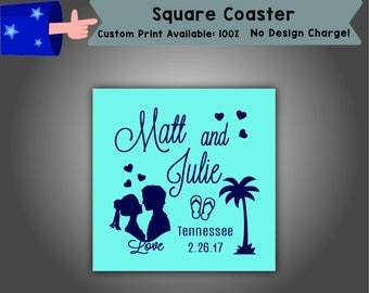 Name and Name Place Date Square Coaster Wedding Single Side Print (C-W4)