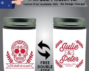 Till Death Do Us Part Name & Name Place Date 32 oz Quart Mason Jar Wedding Cooler Double Side Print (32QMJ-W7)