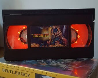 Retro VHS The Goonies Night Light Table Lamp, Horror Movie . Order any movie! Great personal gift. Man Cave. Office.
