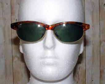 Vintage 80s deadstock slim clubmaster sunglasses tortoiseshell/gold metal (SG31)