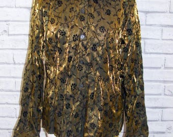 Size 16 vintage 90s long sleeve loose party blouse shimmery gold floral (HY11)