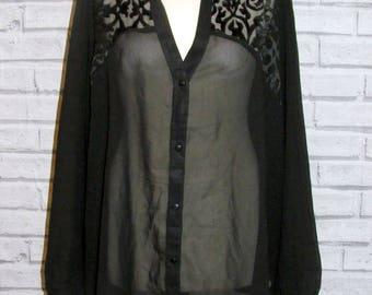 Size 24 vintage 90s long sleeve party blouse floral shoulders sheer black (IB01)