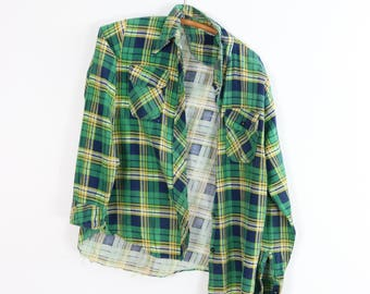 Vintage Plaid Shirt / 70's Flannel Button Up / Green Blue Checked Top / Small