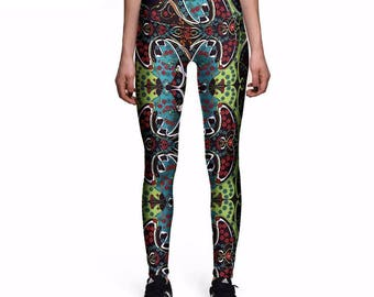 Abstract Flowers Colorful Leggings