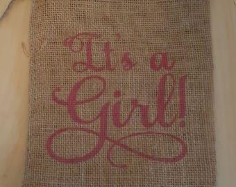 Burlap Bag, It's a Girl! Burlap Bags, Burlap Gift Bags, Gift Bags, Party Bags, Baby Shower Bags