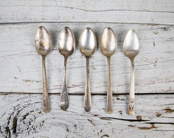Set of 5 Vintage Rustic Antique Tarnished Silverplate Spoons Silverware-Food Photography Props