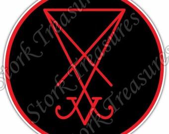 Sigil of Lucifer Satan Devil Demon Evil Hell Car Bumper Vinyl Sticker Decal