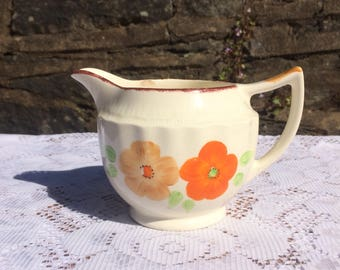 Swinnertons, Art Deco creamer / milk jug, orange flowers