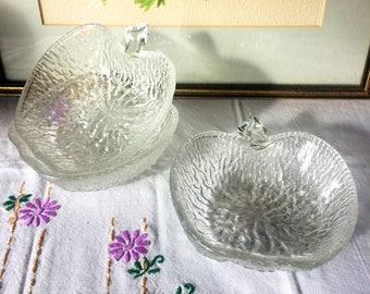 Vintage / kitsch , Apple shaped textured glass dessert dishes