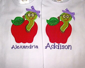Apple Truck, school wagon or worm in apple applique shirt or bodysuit