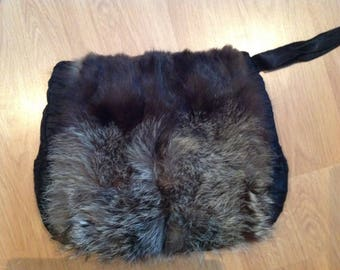 Vintage Fur Muff Purse Hand Warmer Zippered Pocket