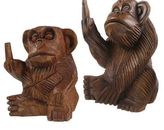 Monkey FUCK YOU with finger, soar wood, various sizes (size: 2)