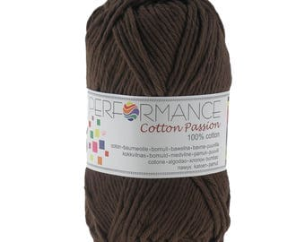 10 x 50 g knitting wool cotton passion 100% cotton, #0274 Brown