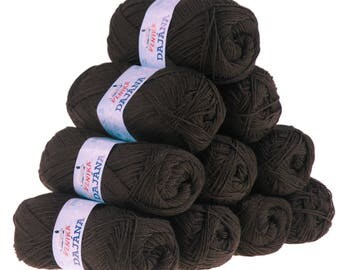 10 x 50 g knitting wool Dajana uni by VLNIKA, #460 Brown