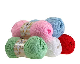5 x 100 g yarn ALIZE baby best, anti-pilling, free choice of colors (color: red)