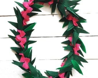 Hot Pink Felt Lei   Moana Costume   Lei for women   Flower and Leaf lei   Hawaiian Lei   Tropical Party