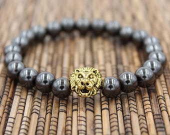 Magnetic Lion (Gold or Silver) - Beaded Bracelet