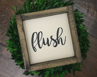 Mini Collection - Flush // Bathroom Decor // Bathroom Sign // Wood Framed Sign // Farmhouse Style // Farmhouse Decor // Wood Farmhouse Sign