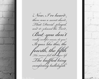 Leonard Cohen - Hallelujah Lyrics Print