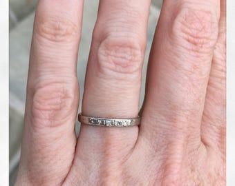 Antique Art Deco Engraved 18k White Gold Diamond Eternity Band Wedding Ring