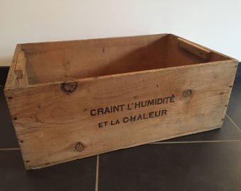 """""""Chocolate"""" old wooden crate"""