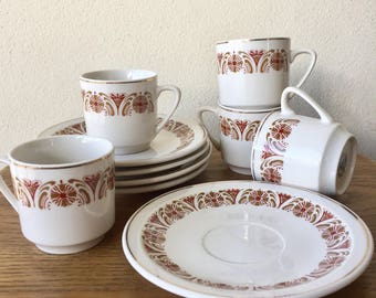 Set of 5 Retro Art Nouveau Revival Brown Organic Pattern with Gold Leaf Espresso Cups and Saucers