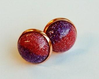 Stud Earrings two tone pink