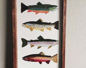 The Wild Sign, four trout wood painting