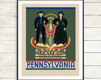 Pennsylvania posters, Pennsylvania art, Pennsylvania Germans, traditional german costume, pennsylvania USA, pennsylvania art print set