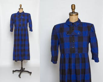 vintage maternity dress | 90s buffalo plaid midi | blue and black check print | Hayley Michaels