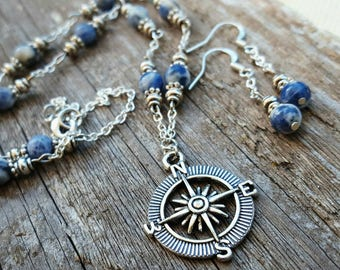 Ocean Blue Compass Necklace and Earrings