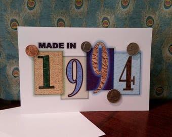 1994 Coin Greeting Card, 1994 Coin Birthday Card, Coin Card, 1994 Coin Card, 1994 Coins, Born in 1994, 1994 Gift, 1994 Birthday Card, 1994