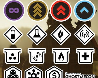 Tom Clancy's Ghost Recon Wildlands  Game Icons Stickers Decals for Cell Phone Tablet Laptop Console Vehicle Car Officially Licensed